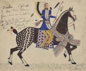 Sioux Indian drawing of Custer on horseback.