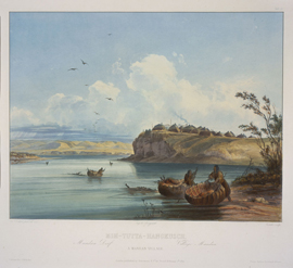 Image shows Catlin's painting of a Mandan Indian village with coracle-like boats.