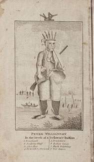The frontispiece of Peter Williamson's 'Travels', depicting him in Indian costume