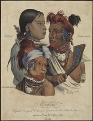 """Osages"" from [Lithographs of Osage Indians visiting Paris in 1827]"