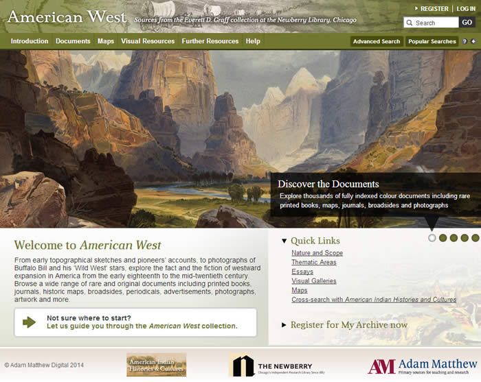 Screenshot of The American West homepage